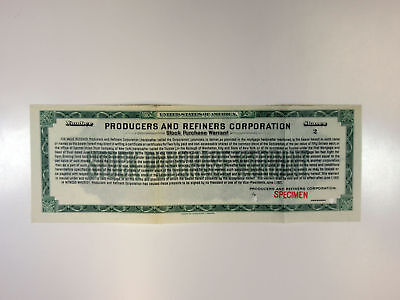 Producers & Refiners Corp., 1921 2 Shrs Specimen Stock Purchase Warrant Cert.