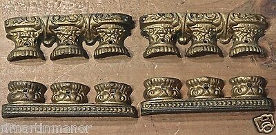 4 old Mantle shelf clock capital top bases triple pillar brass on pewter vintage