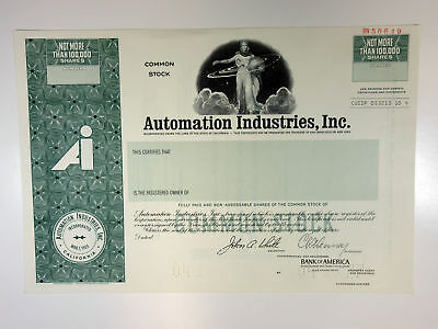 CA. Automation Industries, Inc., 1977 <100,000 Shrs Specimen Stock Certificate