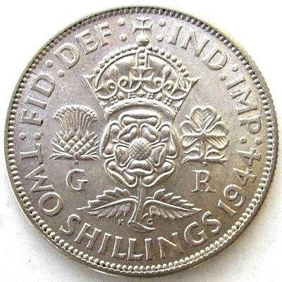 Great Britain Uk Coins, Two Shillings 1944, George Vi, Silver 0.500