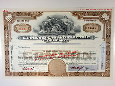 Standard Gas & Electric Co., 1920s 100 Shrs Common Stock Specimen Certificate XF