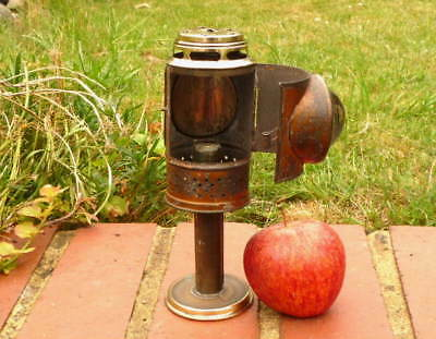 MID VICTORIAN ANTIQUE TRAVELERS POCKET CANDLE LANTERN with BULLS EYE LENS