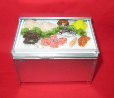 Miniature Dollhouse 1:12 Scale Stainless Steel Display Chiller W/fish - Ch20F
