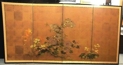 Antique Handpainted Japanese Asian 4 Panel Folding Screen 70 x 36 inches