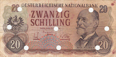 20 Schilling Vg Banknote From  Austria 1956!pick-136