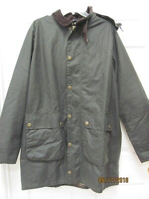 SALE! Barbour Leighton Olive Waxed Cotton Jacket with Hood Tartan Lining Men XL