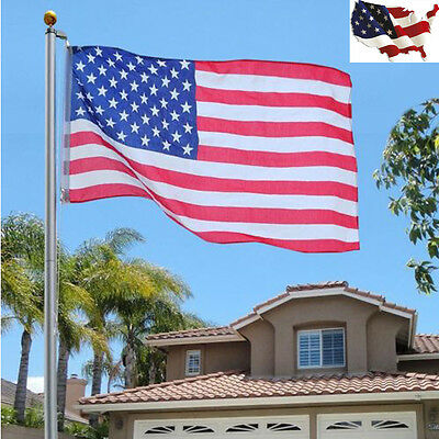 Outdoor 25ft American Nation Flag Aluminum Flagpole Sectional Kit w/Halyard Pole