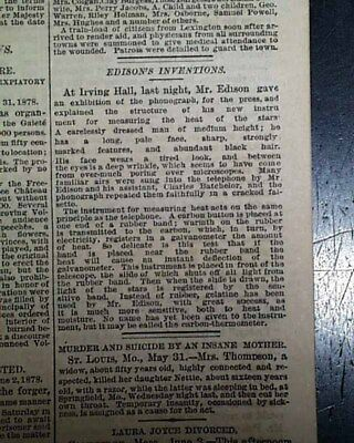 Inventor THOMAS ALVA EDISON Description Phonograph Demonstration 1878 Newspaper