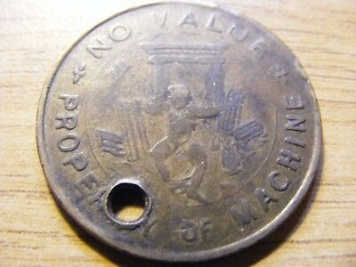 Property of the Machine Value 1 Token - 30mm Dia - ok Condition