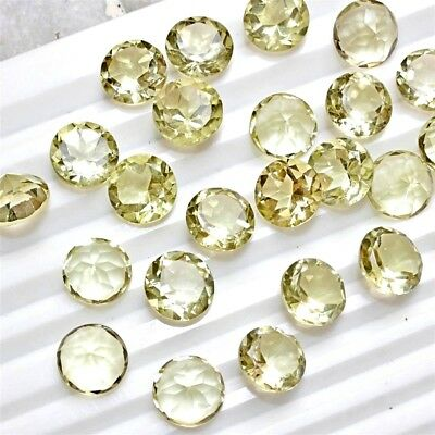 Lot of 11x11mm Round Facet Cut Natural Lemon Quartz Loose Calibrated Gemstone