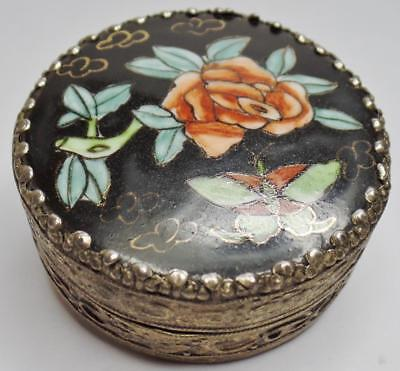 Antique/vintage Chinese Famille Noire Porcelain Shard Fragment Silver Snuff Box