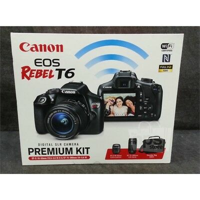 Canon EOS Rebel T6 Digital SLR Camera Premium Kit With Lenses 18-55mm & 75-300mm