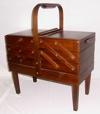 Vintage Romania Accordion Fold Out Wood Sewing Jewelry Box Stand Handle Legs 4Ft