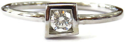 18K White Gold Tiffany & Co. Elsa Peretti Frank Gehry Square Diamond Ring ~ 2.2g