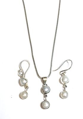 925 STL SILVER Cultured Pearl Cabochon Pendant Earrings & Necklace, 11.04g - W45
