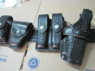 Police Duty Gun Leather Belt Security/Law with extras fits Glock Lot AA503