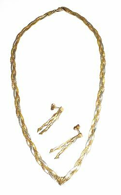 .375 9ct MULTI TONE V-Drop Wheat Chain Necklace & Tassel Earrings, 8.61g - Y96
