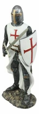 "White Cloak Caped Medieval Crusader Swordsman Knight of Christ Figurine 11.5""H"