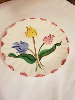 "Vintage Blue Ridge Southern Potteries Handpainted 3 Tulips 9 1/2"" Plate"