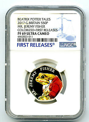 2017 Great Britain Silver Proof 50P Ngc Pf69 Jeremy Fisher First Releases Potter