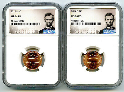 2017 P & D Cent Ngc Ms66 Union Shield 2 Coin Lincoln Label Set - You Get Both