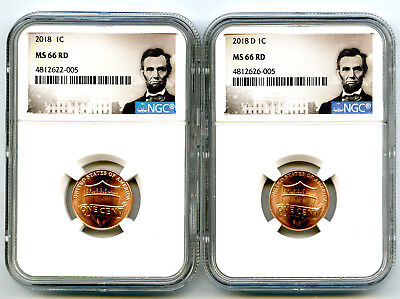 2018 P & D Cent Ngc Ms66 Shield Matching 2 Coin Lincoln Label Set - You Get Both
