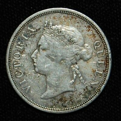 1887 Straits Settlements Silver Fifty Cent Mintage 94,000