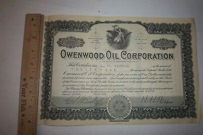 Owenwood Oil Corporation Delaware 25 Shares of Stock 1922 $1.00 Per Share