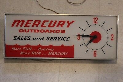 Vintage 1960's Mercury Outboard Boat Motor Gas Oil Lighted Clock Sign Advertisin