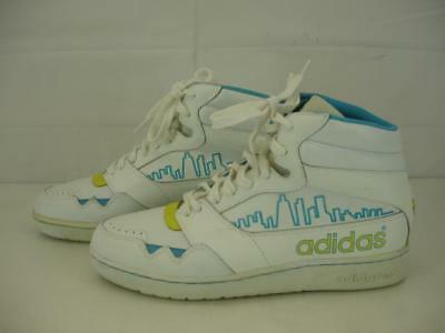 Mens 10 M Vtg 1980's Adidas white high top leather basketball shoes rep of korea