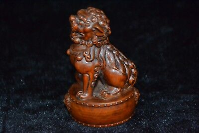 Collectible chinese vintage Old boxwood Carved vivid lion rare netsuke Statue