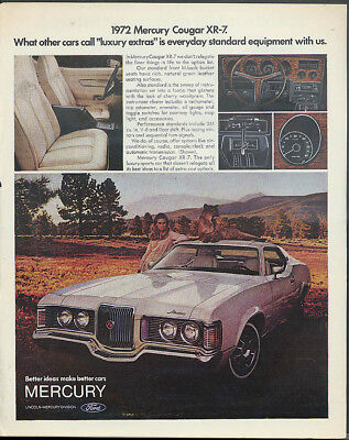 What other cars call luxury extras are standard Mercury Cougar XR-7 ad 1972