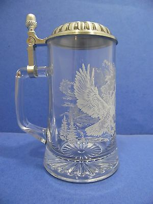 Beer Stein Etched Glass Bald Eagle Pewter Lid Heavy Weighted Bottom Fathers Day