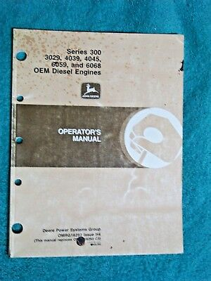 1994 John Deere Series 300 3029 4039 4045 6059 6068 Oem Diesel Engine Op  Manual