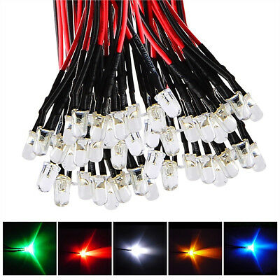10Pcs 3mm 5mm LED Lights Emitting Diode DC 5-24V Pre-Wired 20cm Line Cable Eyefu