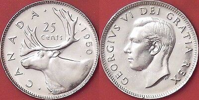 Brilliant Uncirculated 1950 Canada Silver 25 Cents