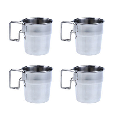 4pcs Stainless Steel Folding Handle Cup for Outdoor Picnic Camping Hiking