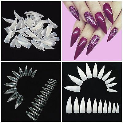 STILETTO Half Cover CLAW Sharp Nail Tips Natural, Clear & White **YOU CHOOSE!**