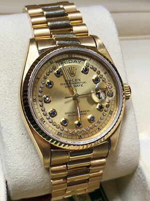Mens 18038 Rolex President Daydate Watch 36mm 18k Gold Custom Champagne String Over 250 Rolex Watches In Stock Visit Our Ebay Today