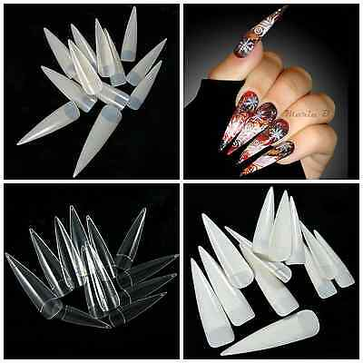STILETTO Half Cover COMPETITION Long Nail Tips **YOU CHOOSE!** Natural Clr White