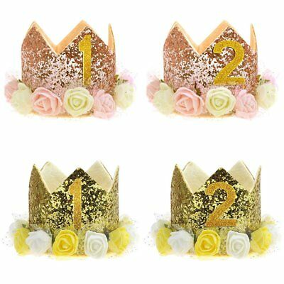 Baby Birthday Crown Hat 1st 2nd 3rd Cake Smash outfit Party Photoshoot Girls TU