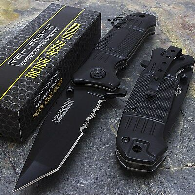 "7.75"" TAC FORCE HALF SERRATED TANTO SPRING ASSISTED TACTICAL FOLDING KNIFE Blade"