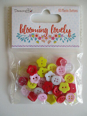 Dovecraft Blooming Lovely 60 Plastic Buttons - flower white pink red yellow mini