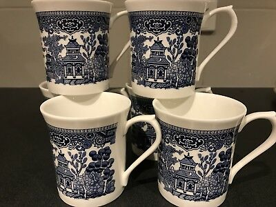 CHURCHILL Made In England BLUE Willow Pattern MUGS X 6