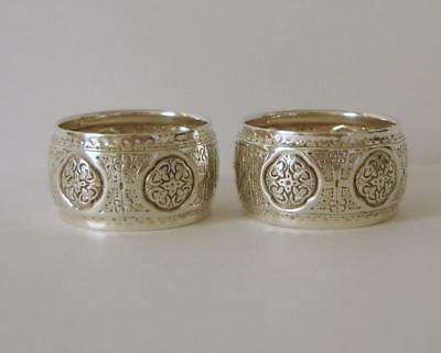 Pair Of Ornately Embossed Victorian Sterling Silver Napkin Rings Sheffield 1879