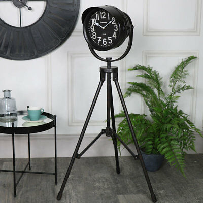 Floor standing tripod clock black rustic retro vintage chic spotlight style gift