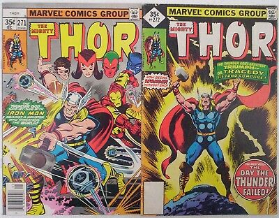 """1978. Two x """"The Mighty THOR"""" Marvel comics. Vol.1 #'s 271 & 272.VG."""