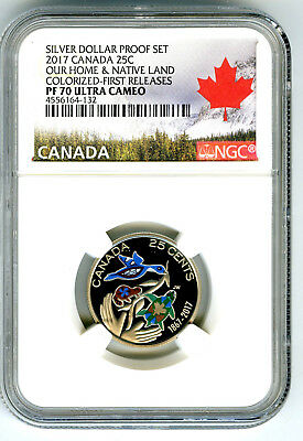 2017 Canada 150Th Anniv Proof 25 Cent Ngc Pf70 Colorized First Releases Quarter