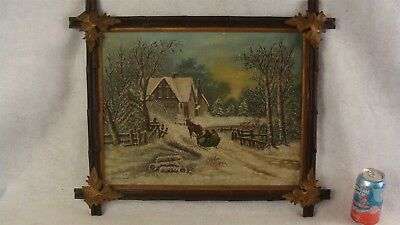 Antique Signed 19C Winter Sleigh Ride O/B Landscape Painting