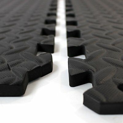 Black Interlocking Eva Soft Foam Exercise Floor Mats Gym Garage House Office Mat
